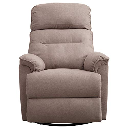 CANMOV Contemporary Fabric Swivel Rocker Recliner Chair – Soft Microfiber Single Manual Reclining Chair, 1 Seat Motion Sofa Recliner Chair with Padded Seat Back, Smoke ()