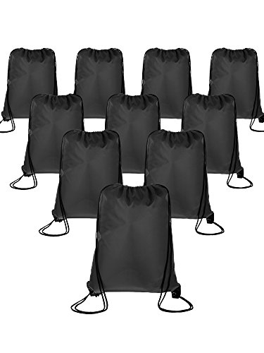 - BBTO 10 Pieces Drawstring Backpack Sport Bag Cinch Tote Travel Rucksack for Traveling and Storage (Black)