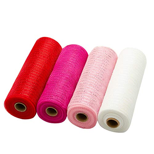 LaRibbons Deco Poly Mesh Ribbon - 10 inch x 30 feet Each Roll - Metallic Foil Red/Pink/Fuschia/White Set for Wreaths, Swags and Decorating - 4 Pack