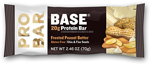 PROBAR - BASE 20g Protein Bar - Frosted Peanut Butter - Gluten-Free, Non-GMO, with Chia & Flax Seeds - Pack of 12