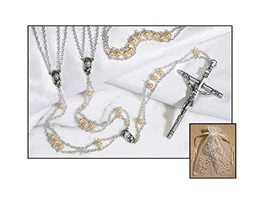 - 1home Mother of Pearl Ladder Lasso Wedding Rosary imitation Glass Pearl Silver Plate