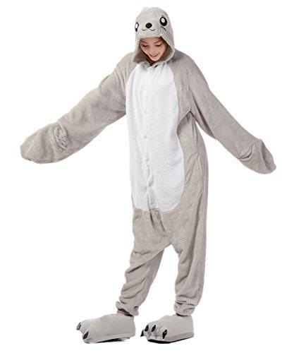 MizHome Unisex Sea Lion Cartoon Cosplay Seal Jumpsuit Sleepwear Pajamas L -