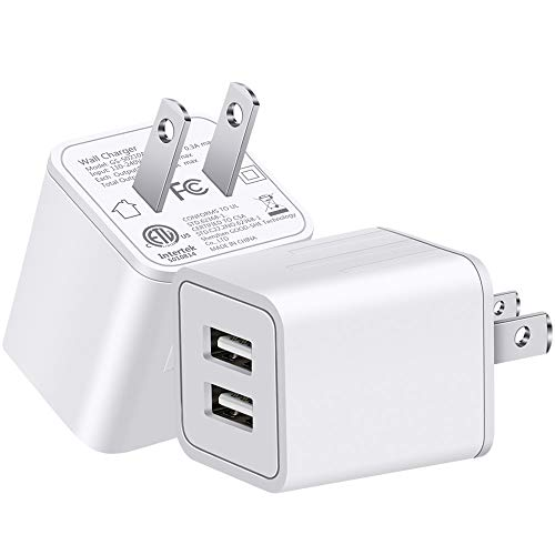 YUNSONG USB Wall Charger Fast Dual Port Travel Adapter Portable Rapid Phone Charger Block Power Charging Plug(ETL Listed) Compatible with Phone/Pad/Moto(2-Pack)