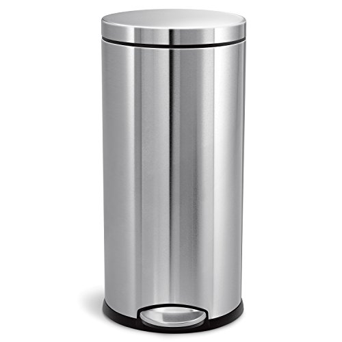 - simplehuman 30 Liter / 8 Gallon Round Step Trash Can, Brushed Stainless Steel