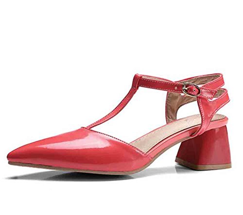 Easemax Women's Elegant Patent Pointed Toe Ankle T-Straps Buckles Mid Chunky Heel Slingback Sandals Red 11.5 B(M) US ()