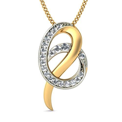 14K Or jaune 0.24CT TW Round-cut-diamond (IJ | SI) Pendentif