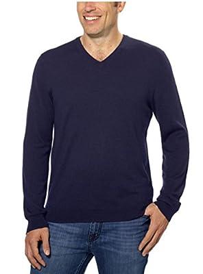 Calvin Klein Lifestyle Extra Fine Merino Wool V-Neck Sweater (Small, Navy Yard)
