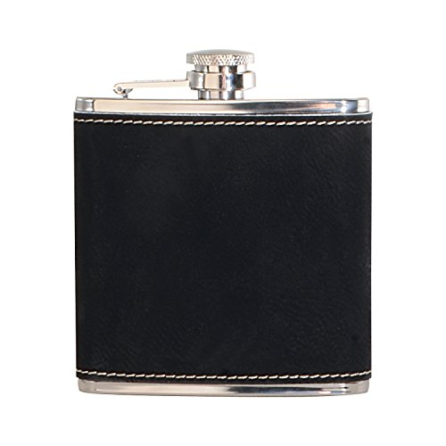- Thirsty Rhino Sway, Leather Wrapped Stainless Steel Hip Flask, 6 oz, Black (Set of 12)