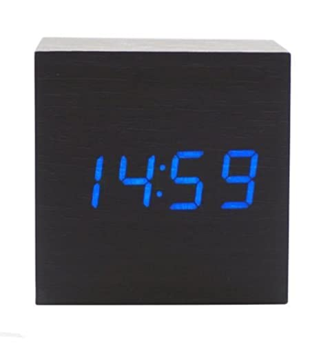 Amazon.com: Elecsmart USB/ AA Battery Powered Creative Voice Sound Activated Wood LED Digital Alarm Wooden Clock Despertador with Temperature Display ...