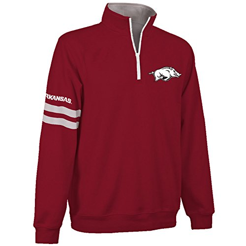 Elite Fan Shop Arkansas Razorbacks Quarter Zip Sweatshirt - M - Crimson