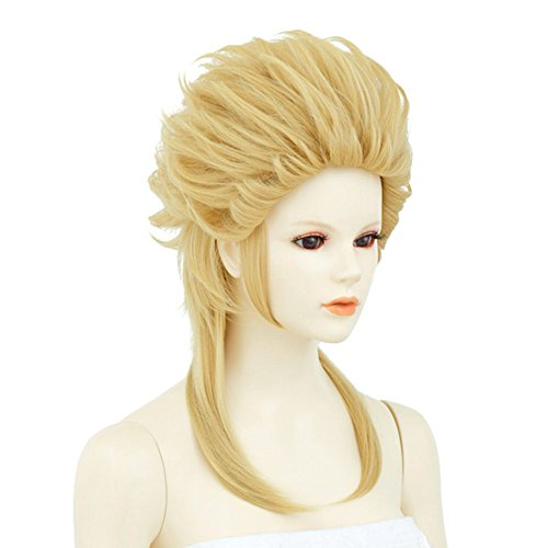 Neo Swept Back Hair Yellow Gold Cosplay Wig Short Combed Back Blonde Hair Heat-resistant NARUTO (Spiky Blonde Wig)