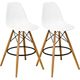 Mod Made Mid Century Modern Armless Paris Tower Barstool Chair with Natural Wood Legs for Bar or Kitchen- White (Set of 2) Review