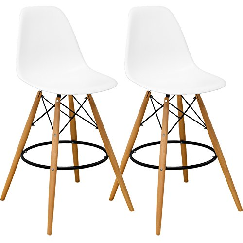 Mod Made Mid Century Modern Armless Paris Tower Barstool Chair with Natural Wood Legs for Bar or Kitchen- White (Set of (Loose Seat Lounge Chair)