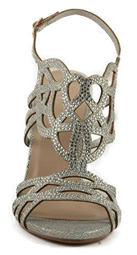 Delicious Womens Flyer Medallion Sparkled Stiletto Helled Sandal w/Back Strap Silver Mesh Glitter QFZt5