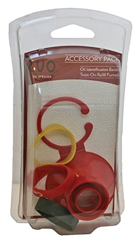 Evo Accessory Pack for Oil Sprayer Bottles, 4-Piece Set, Twist-On Funnel and 3-Identification Ban -