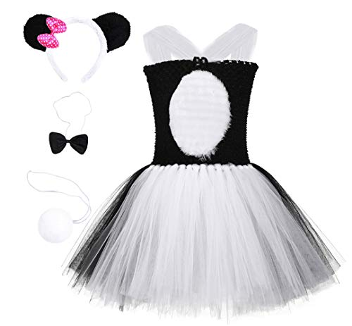Halloween Panda Costume for Girls Birthday Party Animal Tutu Dress with Headband Bowtie Tail Large -