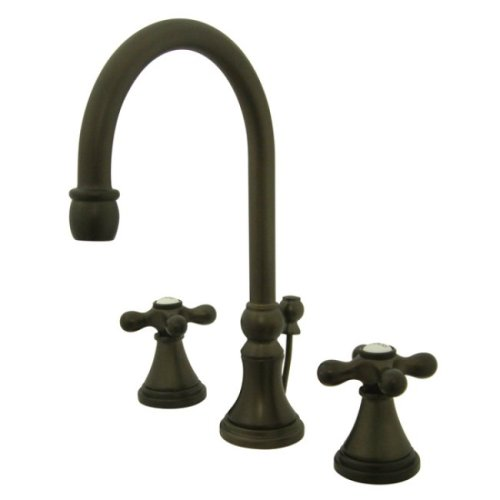 Kingston Brass KS2985AX Governor Widespread Lavatory Faucet with Brass Pop-Up with Metal Cross Handle, Oil Rubbed Bronze by Kingston Brass