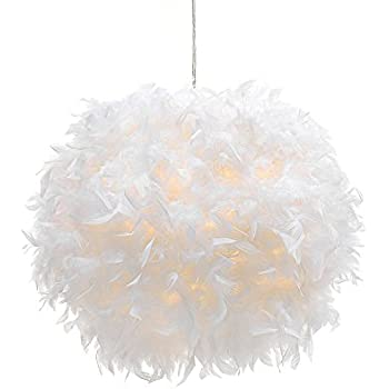 Waneway white feather ceiling pendant light shade non electrical waneway white feather ceiling pendant light shade non electrical lampshade for floor lamp and aloadofball Images