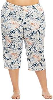Gloria Vanderbilt Women's Knit Sleep Capri Pants - Bottoms with Side Poc