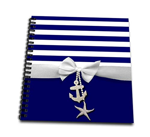 3dRose db_151234_3 Nautical Navy Blue & White Stripes 2D Ribbon Bow Graphic & Printed Anchor & Starfish Charms Mini Notepad, 4 by 4""