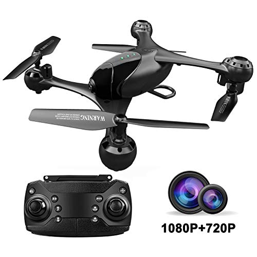 Posiveek OY110D FPV RC Drone with 1080P HD Camera and 720P Optical Flow Positioning Camera Toy Quadcopter Equipped with Lost-Control Protection Technology, Color Black