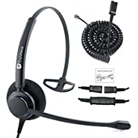 TruVoice HD-100 Professional Single Ear Noise Canceling Office/Call Center Headset With U10P Bottom Cable works with Mitel, Nortel, Avaya Digital, Polycom VVX, Shoretel, Aastra + Many More