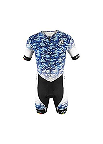DeSoto Men's Riviera FliSuit Sleeved Tri Suit (Blue, X-Large)
