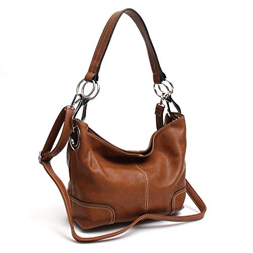 (Americana Bucket Style Hobo Shoulder Bag with Big Snap Hook Hardware )