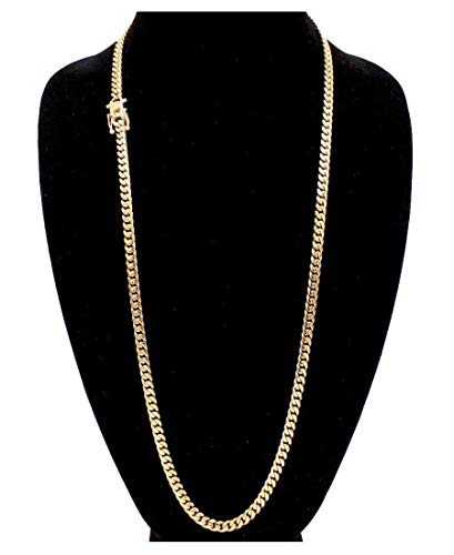 Cuban Link 24K Gold Plated Men's Miami Cuban Chain Stainless Steel Fashion Bracelet Jewelry own4 Lifetime (24, Necklace (6MM Wide)) -