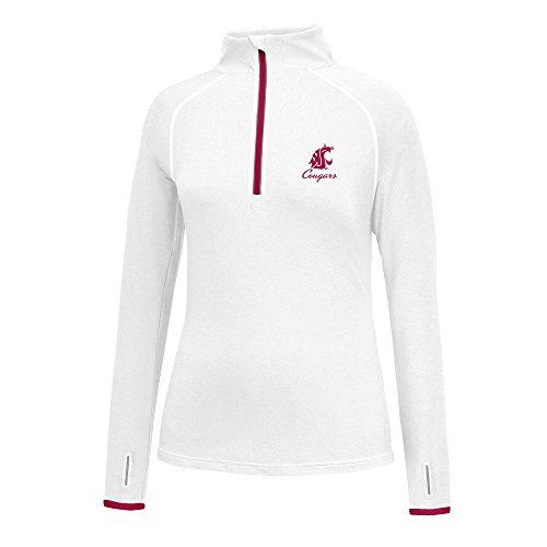 J America NCAA Washington State Cougars Women's Script Logo Power Through Poly 1/2 Zip Sweater, Small, White/Cardinal