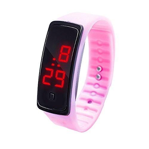 WoCoo Digital LED Wrist Watch Fashion Digital led Display Sports Jelly Silicone Band Wrist Watch for Unisex(Pink)