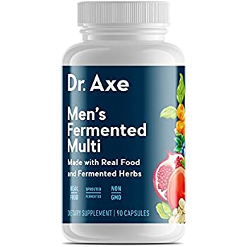 Dr. Axe Men's Multivitamin Supplement, 90 Capsules - Made with Real Food and Fermented Herbs