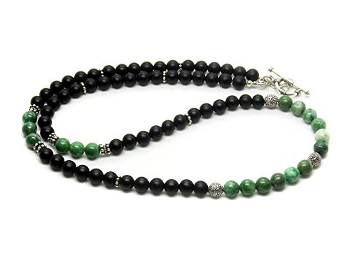 Men's Beaded Necklace, Jade and Onyx Necklace, Stone and Silver Beaded Necklace