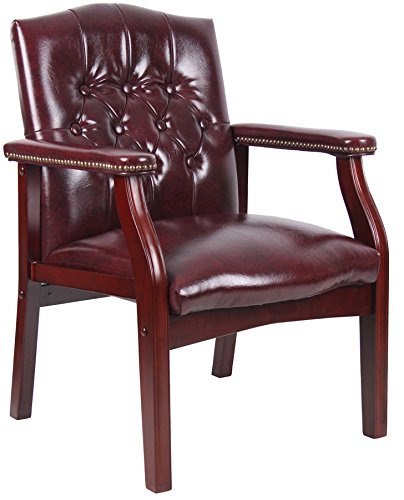 Boss Traditional Oxblood Vinyl Guest Chair with Mahogany Finish, Oxblood Office Chairs Canada