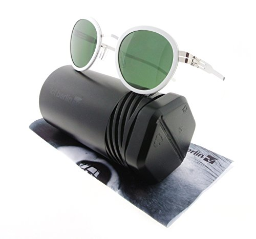 ic! Berlin Sunglasses S42 Wedding Chrome & White with Green Nylon Lenses by IC BERLIN