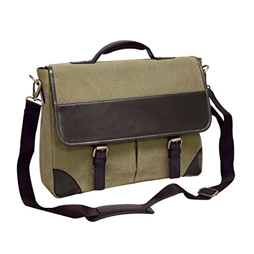 - Bellino Livingston Leather Briefcase, Olive Brown, One Size
