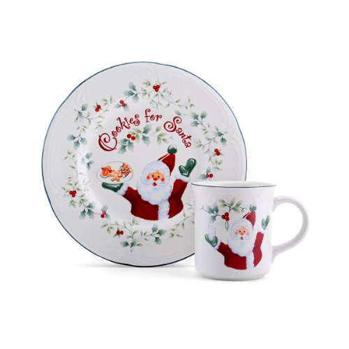 "Pfaltzgraff Winterberry ""Cookies And Milk For Santa"" Set"