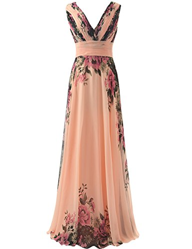 JAEDEN Flower Printed Bridesmaid Dresses Long V Neck Chiffon Prom Party Gown Flower Print - Chiffon Printed Gown