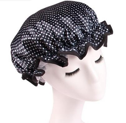 Fashion Design Stylish Reusable Shower cap with Beautiful pattern and color (Adult Size, Black and White(Polka dot))