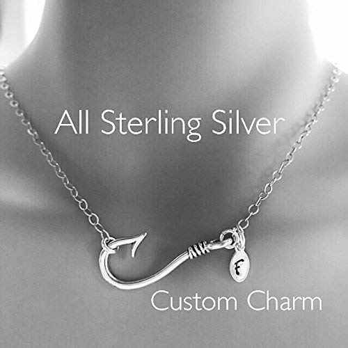 Sporty Sterling Silver Fishhook and Stamped Charm Necklace Fish Hook -
