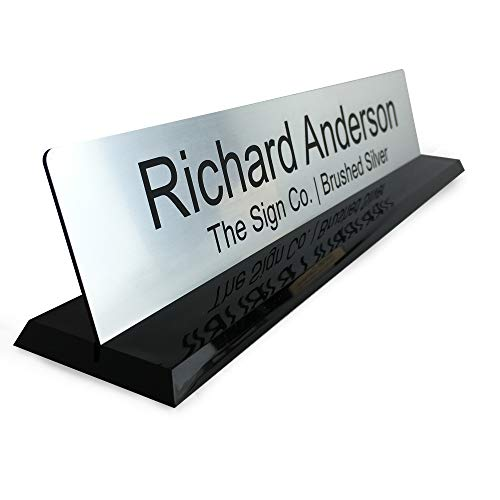 Personalized Office Name Plate Desk Sign with Molded Base in Black - 2x10 - Customize]()