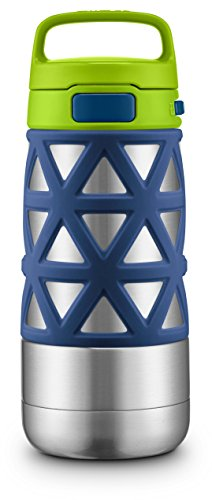 Ello Max Stainless Steel Water Bottle, Navy/Green, 14 oz.