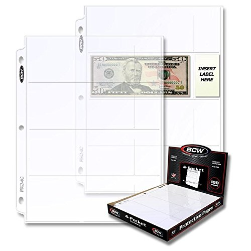 BCW 4 Pocket Currency Pocket 100 Pages