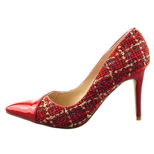 Sopily - Zapatillas de Moda Tacón escarpín stiletto bimaterial Tobillo mujer brillantes patentes Talón Tacón de aguja alto 9 CM - Rojo