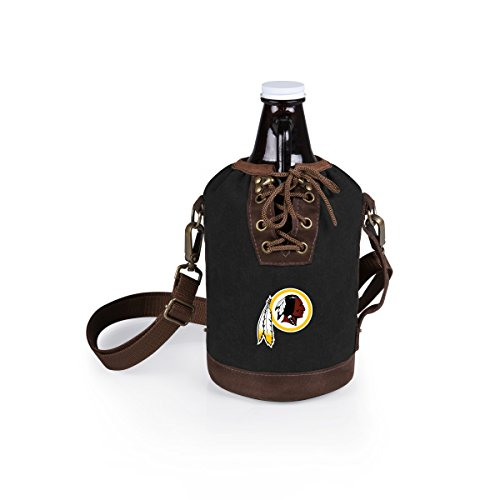 PICNIC TIME NFL Washington Redskins Canvas Lace-up Growler Tote with 64 oz Amber Glass Growler, Black