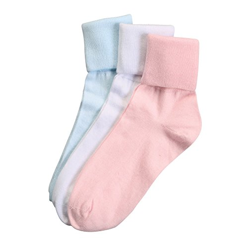 (Buster Brown Women's 100% Cotton Socks - 3 Pair Package Fold Over Pastel Colors - M)