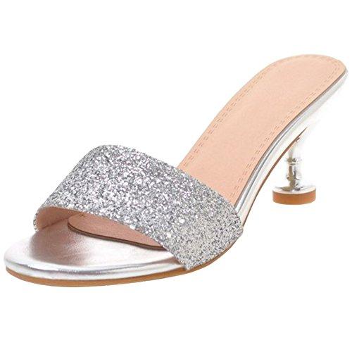 Heel TAOFFEN Sandals Women Style 1 Fashion Western Silver Slipper Sandals TTAPRwx