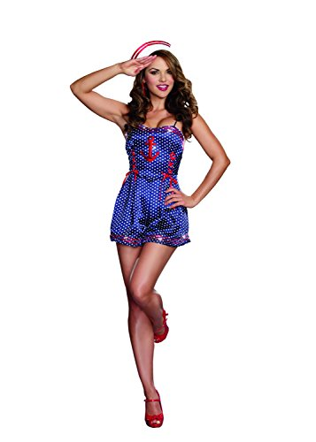 Sexy Maritime Sea Maiden Polka Dot Bodysuit Romper Sailor Costume Adult Women (Small, Blue) (Cheap Pin Up Girl Halloween Costumes)