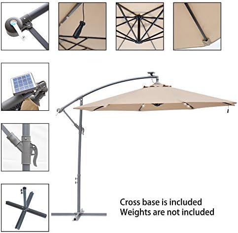 SUNNYARD Bamboo Market Umbrella 9 Ft Outdoor Patio Umbrella Wood Umbrella Patio