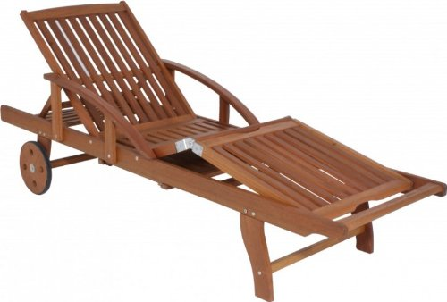 Gartenliege Sonnenliege 5-fach verstellbar große Räder Eukalyptus FSC Holz, geölt